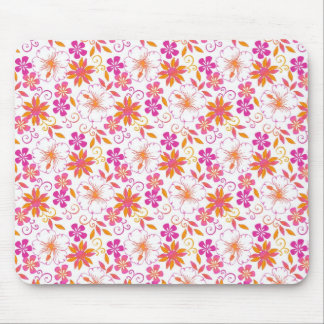 Pink and Orange Tropical Flower Pattern Mouse Pad