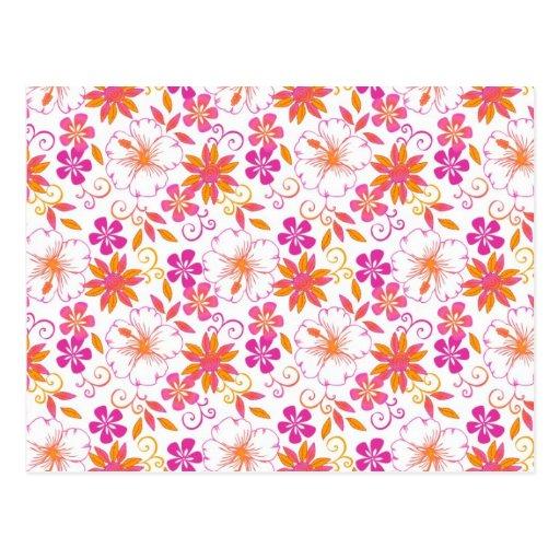 Pink and Orange Tropical Flower Pattern Postcard