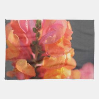 Pink and orange tropical flowers towel