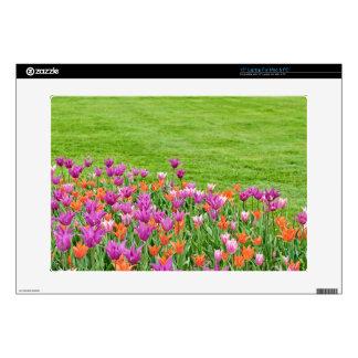 """pink and orange tulips 15"""" laptop skin"""