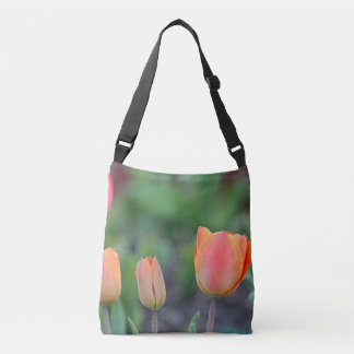 Pink and orange tulips crossbody bag