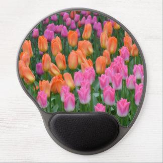 Pink and orange tulips gel mousepad