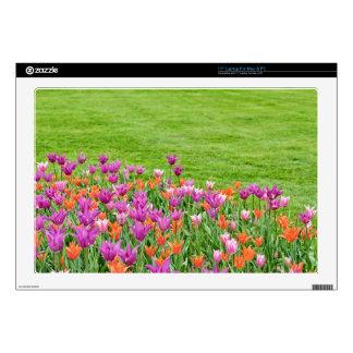 pink and orange tulips laptop skin