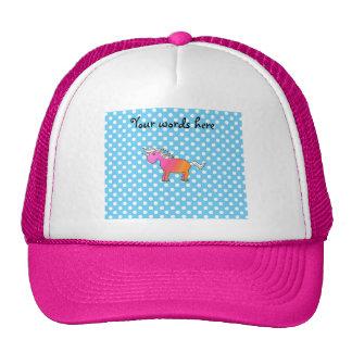 Pink and orange unicorn on blue polka dots trucker hat