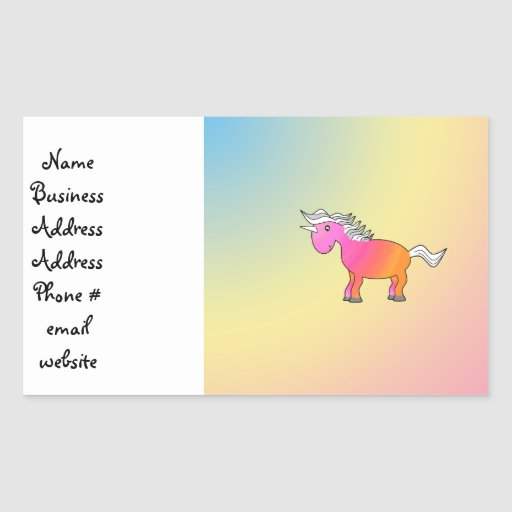 Pink and orange unicorn rectangular stickers