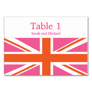 Pink and Orange Union Flag Table Cards