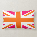 Pink And Orange Union Jack Lumbar Pillow at Zazzle