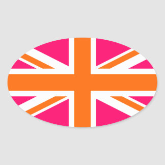 Pink and Orange Union Jack Oval Sticker