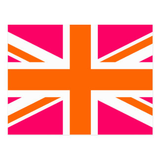 Pink and Orange Union Jack Postcard