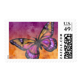 Pink and Orange Watercolor Effect Butterfly Stamp