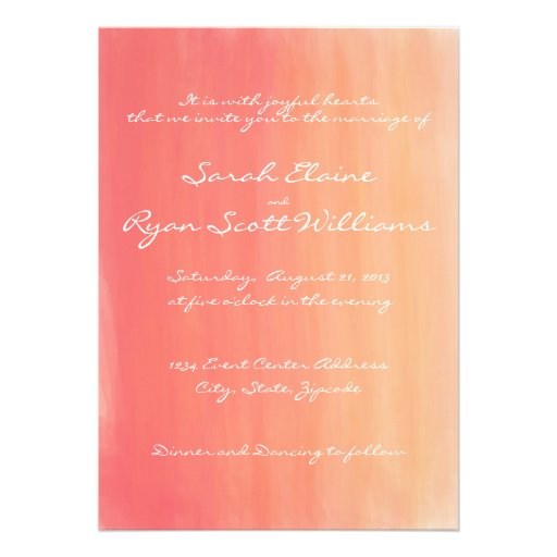 Pink And Orange Watercolor Wedding Invitation 5 X 7