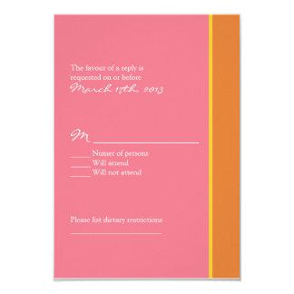 Pink and Orange Wedding RSVP Card