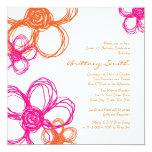 Pink and Orange Wild Flowers Birthday Invitation
