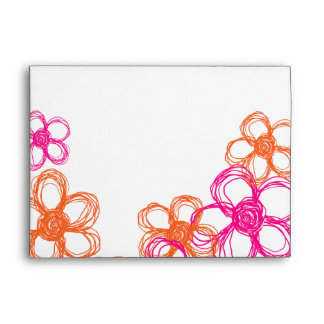 Pink and Orange Wild Flowers Envelope