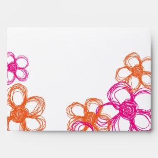 Pink and Orange Wild Flowers Envelopes