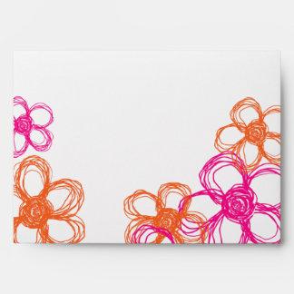 Pink and Orange Wild Flowers Envelope