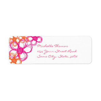 Pink and Orange Wild Flowers Return Address Label