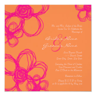 Hot Pink And Orange Wedding Invitations Amp Announcements