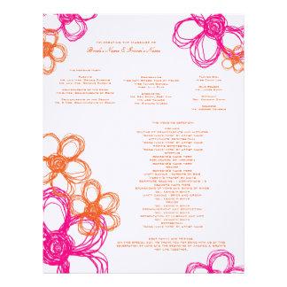 Pink and Orange Wild Flowers Wedding Program Letterhead Template