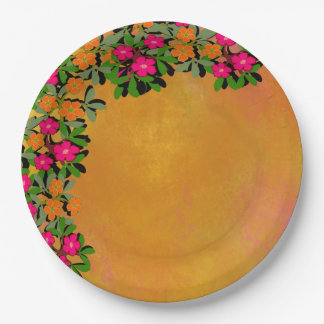 Pink and Orange Wildflowers Paper Plate