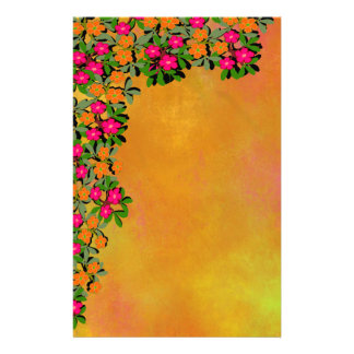 Pink and Orange Wildflowers Stationery