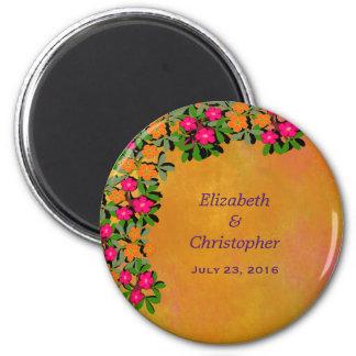 Pink and Orange Wildflowers Wedding Date Magnet