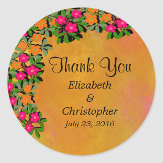 Pink and Orange Wildflowers Wedding Thank You Classic Round Sticker