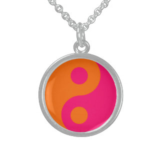 Pink and Orange Yin Yang Sterling Silver Necklace