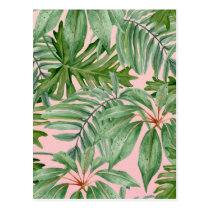 Pink and Palm Leaf Tropical Floral Pattern Postcard