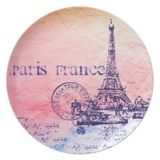 Pink and Pastels Impressionist Paris France Dinner Plate