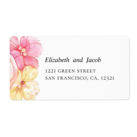 pink and peach flowers romantic wedding address label zazzle com