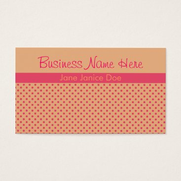 Professional Business Pink and Peach Polka Dot Business Card