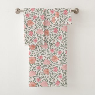 Pink and Peach Rose Garden Print Bath Towels