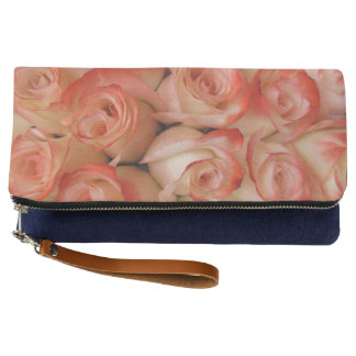 Pink and Peach Roses Clutch