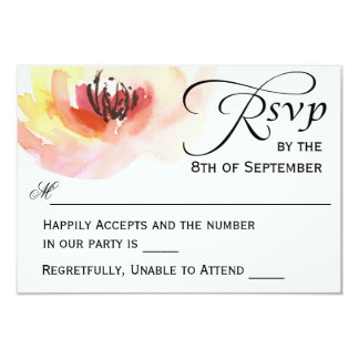 Pink and Peach Watercolor Floral RSVP Card