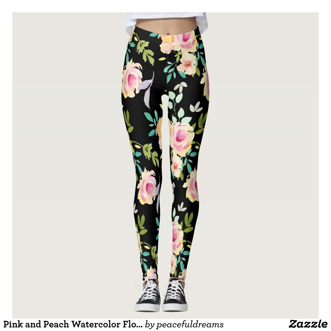 Pink and Peach Watercolor Flowers Leggings