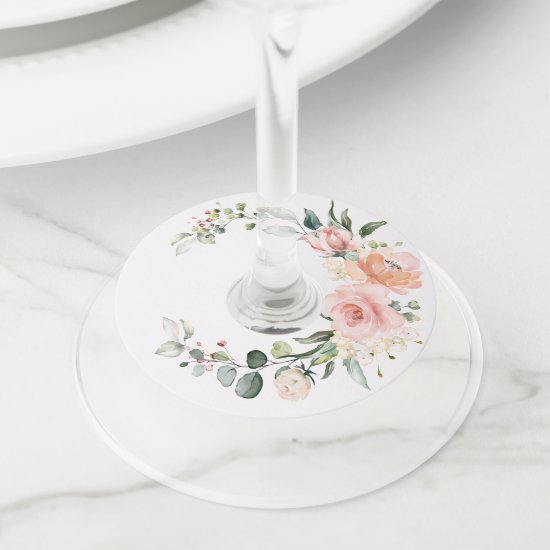 Pink and Peach Watercolor Roses Greenery Wine Glass Tag