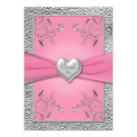 """Pink and Pewter Heart Sweet Sixteen Invitation 5"""" X 7"""" Invitation Card"""