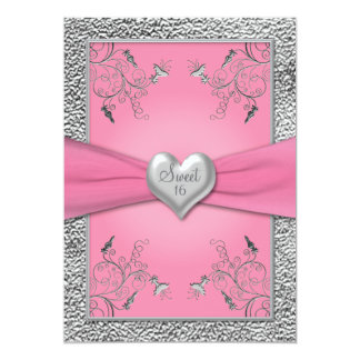 Pink and Pewter Heart Sweet Sixteen Invitation