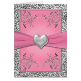 Pink and Pewter Heart Thank You Card