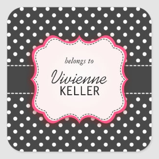 Pink and Polka Dots Square Stickers