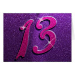 Pink and Purple 13th Birthday Party Greeting Card