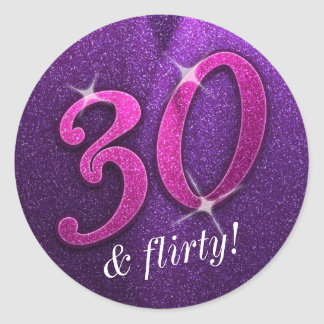 Pink and Purple 30 and Flirty Birthday Stickers