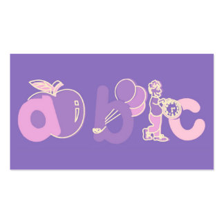 Pink and Purple ABC Alphabet Logo for Girls Business Card Templates