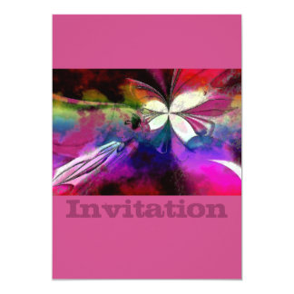 Pink And Purple Abstract Butterfly 13 Cm X 18 Cm Invitation Card