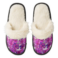 Pink And Purple Abstract Flowers Pattern Pair Of Fuzzy Slippers
