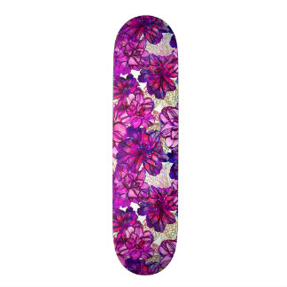 Pink And Purple Abstract Flowers Pattern Skateboard
