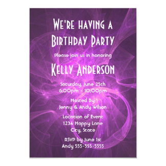 Pink and Purple Abstract fractal Birthday Party Card