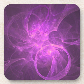 Pink and Purple Abstract fractal with Circles Drink Coaster