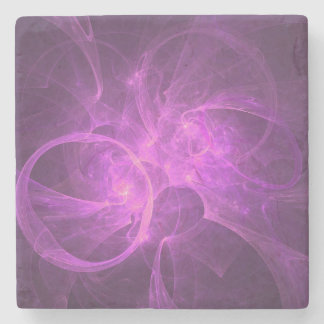 Pink and Purple Abstract fractal with Circles Stone Coaster